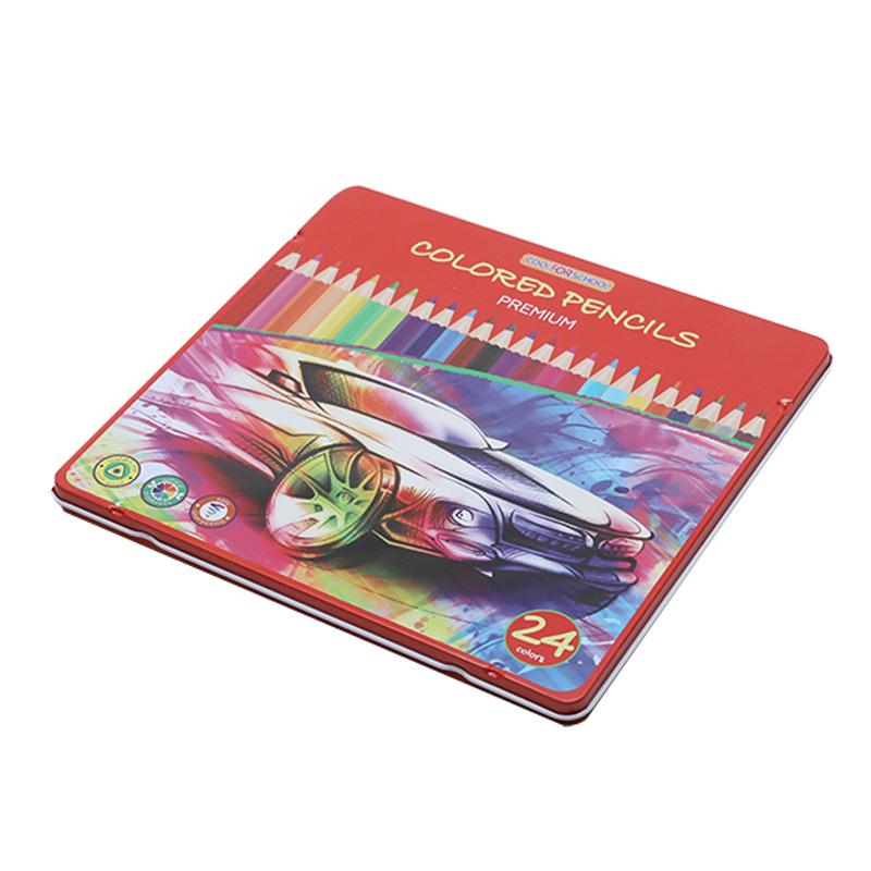 24支彩铅铁盒YA007