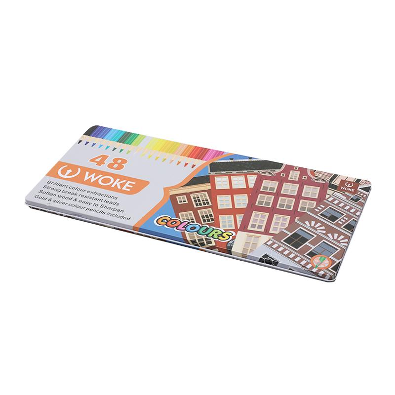 48支单层彩铅铁盒YA009